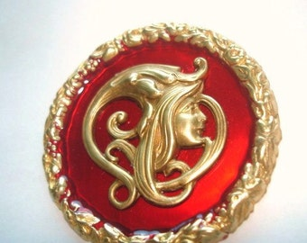 Lady Brooch Ruby Red Gold Tone