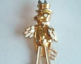 Rare Penquin Fur Clip  Jewelry Gold Tone