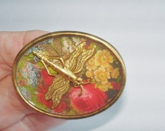 Dragonfly in Flower Vintage Jewelry Brooch