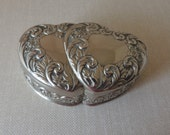 Double Heart Silver Casket Box. Embossed Metal Hinged Container. Silverplated Metal Jewelry Box