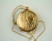 Vintage Round Locket with Shield Engraving and Picture Frames, Locket Holds Photos, Picture Locket, Round Frame Locket