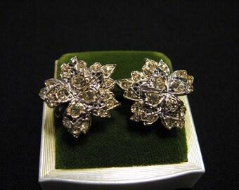 Antique Silver Tone and Pave Diamond Rhinestone Maple Leaf Screwback Earrings
