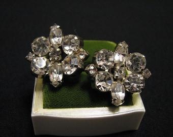 Vintage Silver Tone and Austrian Crystal Glass Diamond Rhinestone Flower Cluster Clip Earrings