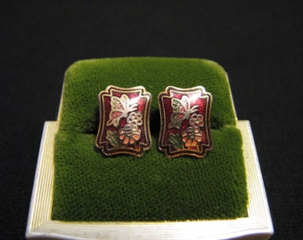Vintage Gold Tone and Multicolored Red Cloisonne Enameled Butterfly Shield Pierced Earrings