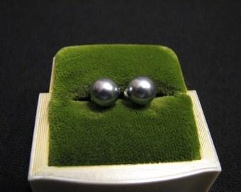 Vintage Sterling Silver Glass Metallic Faux Black Tahitian Pearl Stud Post Pierced Earrings