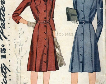 Vintage 1940s Shirtdress Pattern Flared Skirt Shaped Seams Collar to Hem Buttons 1942 Simplicity 4364 Bust 32