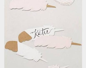 Wedding escort cards, 10 place cards, feathers, hand painted pink, gold, ivory, striped, boho, beach wedding decor