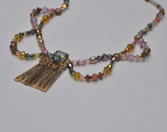 Egyptian Style Handmade Necklace- from Vintage compnenets - Upcycle recycle repurpose OOAK