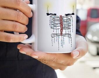 Original Art Mug - Skeletabra | Horror | Skeleton | Abstract | Anatomy | Taxidermy | Candles | Goth | Halloween