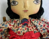 Primitive art doll, hand made, original one of a kind collectible, 16 in. by Dumplinragamuffin, Ab4B,Hafair, OFG team