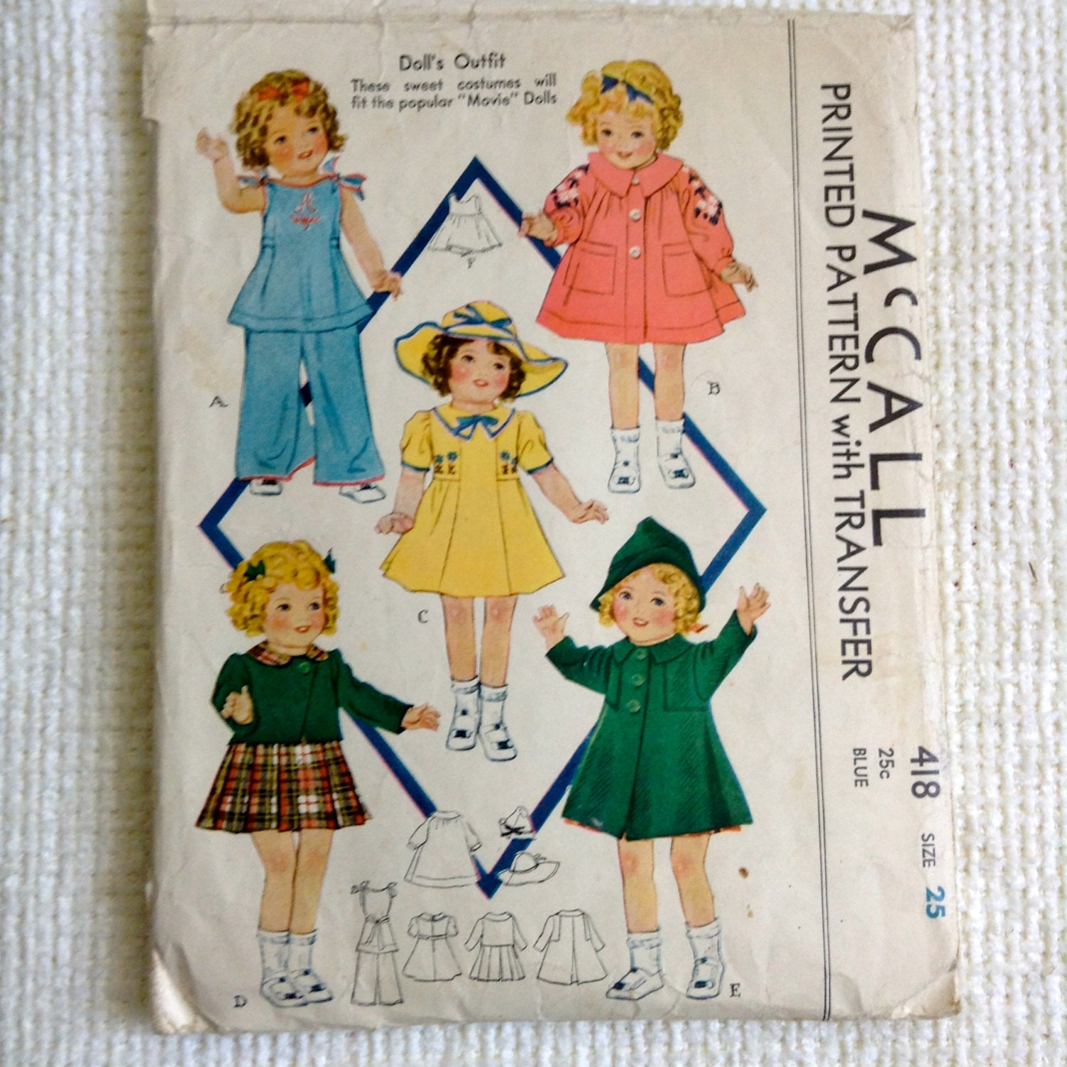 vintage 1930 s doll clothes sewing pattern mc call