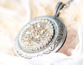 Vintage Rhinestone Locket with Long Vintage Chain One of a kind Crystal Lockets Antiqued Silver