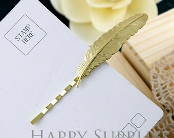 10Pcs 86mm Lovely Golden Feather Hair Clip  (ZX151)