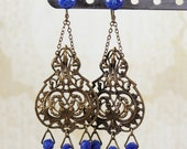Vintage Bohemian Bronze Filigree Blue Beaded Dangle Earrings