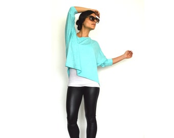 Oversize Crop Top- Mint oversize summer top, Loose jersey top with elbow length sleeves