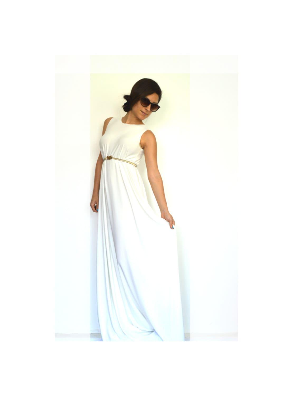 Boho wedding dress white maxi dress summer wedding dress for Summer maxi dresses weddings
