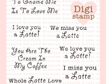 Latte and Gnome Sentiments Digital Stamps for Card Making, Paper crafts and Scrapbooking