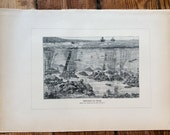 1900 UNDERWATER SCENE print original antique marine animal sea life ocean lithograph