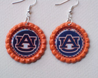 Auburn University orange and blue earrings bottle cap auburn game day jewelry