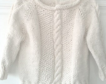 Cotton knit sweater, Baby, Toddler, Cabled, Fisherman's Knit, Natural, Aran