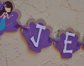 Mermaid Birthday Party Seashell Name Banner, purple, and turquoise