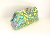 Yellow clutch/ floral clutch, paisley clutch, summer clutch, green clutch, lime clutch, Amy Butler, bridesmaid clutch