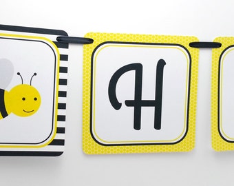 Bumble Bee Party Banner, Bumble Bee Birthday Banner, Bumble Bee Banner, Bumble Bee Party Decoration