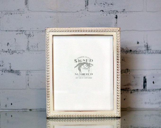 "8x10"" Picture Frame in 1x1 Decorative Bumpy Style with Vintage White Finish - Can Be Any Color - 8x10 Rustic White Frame Handmade - 8 x 10"""