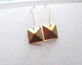 Geometric square dangle earrings, raw brass on 14k gold plate fixtures, geometric jewelry
