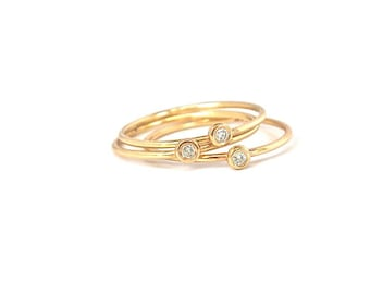 Diamond Pebble Stack Rings in 14k Gold Made to order