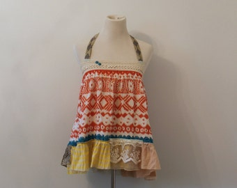 Boho Halter Top, Baby Doll, Festival Top, Urban Chic, Aztec, Coral and Turquoise,Country Farm Girl, Eco Friendly Upcycled Clothing Size SM