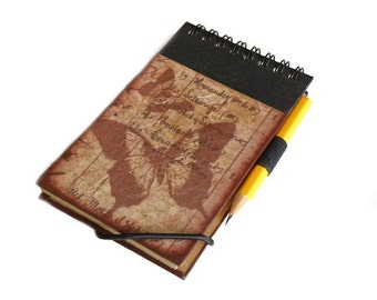 Brown travel pocket notebook with pencil and decoupage of butterflies