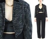 1950s Cropped Jacket Tweed Blazer Bolero Jacket Vintage 50s Blazer Pointed Hem Velvet Collar B Pinup Wool Suit Jacket Retro Black White (M)