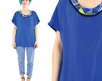 Cobalt Blue Blouse 90s Slouchy Short Sleeve Top Tropical Floral Print Blouse Bright Blue Summer Vintage Womens Shirt Dolman Sleeve Top (M)