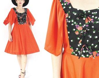 50% OFF SALE 70s Boho Festival Dress Cherry Red Dress Flutter Sleeve Dress Floral Print Empire Waist Dress Draped Jersey Hippie Dress (S/M)