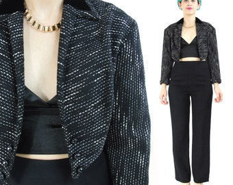 30% OFF SALE Vintage 1950s Tweed Jacket Cropped Blazer Bolero Jacket Black Velvet Collar Pointed Hem Womens 50s Suit Jacket (M) E231