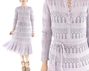 1970s Crochet Knit Dress Lilac Lavender Hand Knitted Dress Long Sleeve Sweater Dress Tassel Belted Dress Granny Knee Length Dress XS/S E371
