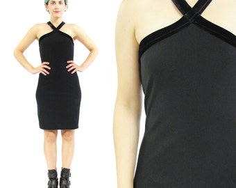 40% OFF 90s Black Velvet Mini Dress Cut Out Neck Dress Goth Bodycon Velvet Dress Criss Cross Strappy Halter Dress Sexy Stretchy LBD XS E289