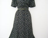 vintage 1940s belt with 80s does 40s LIZ CLAIBORNE geometric print day dress, us size 8 or medium