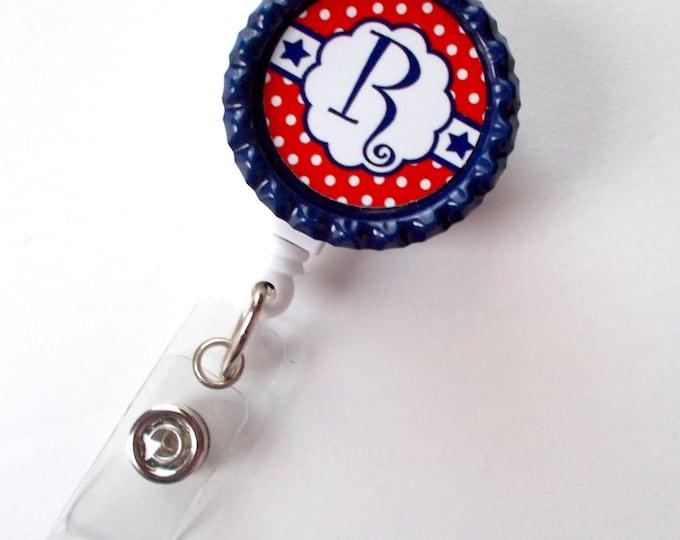 Personalized Stars and Stripes - USA Badge Holder - Name Badge Holder - Bottle Cap Badge - Nursing Badge - Nurses Badge Holder - 4th of July