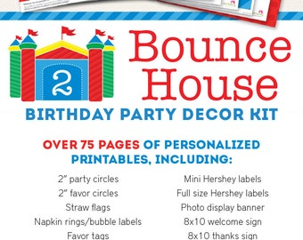 Bounce House Birthday Party Printable Decor Kit - Over 75 pages of personalized designs!