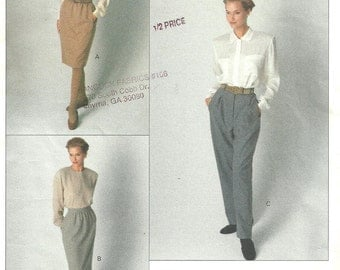 Vogue 2392 / Vintage Designer Sewing Pattern By Calvin Klein / Pants Trousers Skirt / Size 6 8 10
