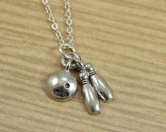 Bowling Pins and Ball Necklace, Silver Plated Bowling Charm on a Silver Cable Chain