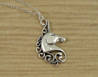 Unicorn Necklace, Sterling Silver Unicorn Head Charm  on a Silver Cable Chain