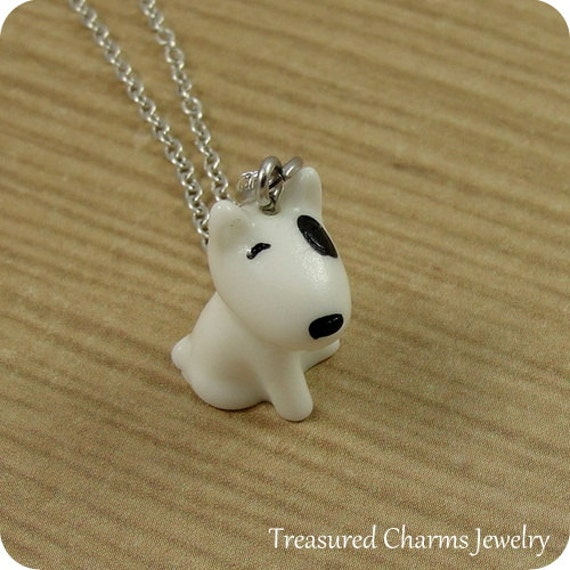 Bull Terrier Dog Necklace, Resin Bull Terrier Charm on a Silve Cable Chain