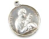 Fine Silver Saint Gonzaga - Guardian Angel Catholic Medal - .999 Silver Casted Religious Charm - OOAK Scapular Medallion - O48