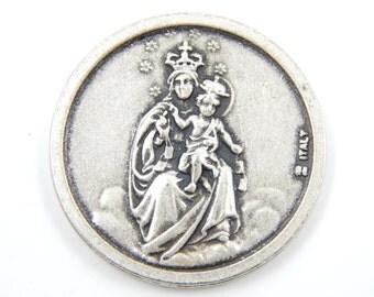 Our Lady of Mount Carmel - Sacred Heart of Jesus Catholic Medal - Religious Medallion - Pocket Medallion - Virgin Mary Charm