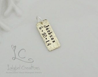 Hand Stamped tag, Personalized Charm, Brass Hand Stamped Rectangle Tag, Add On Tag, Add a Charm, Personalized Jewelry, Hand Stamped Jewelry