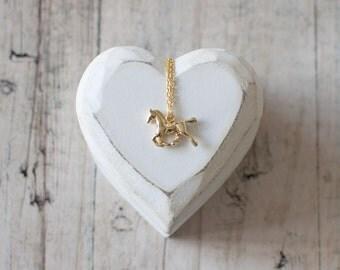Horse Charm Necklace. Horse Pendant Necklace. Gold Charm Necklace. Animal Necklace. Equestrian Necklace. Horseback Riding.