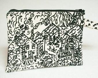 Black Zippered Wristlet Clutch, Black Screenprinted Village Scene, Wristlet Small Pouch, Black and White Purse